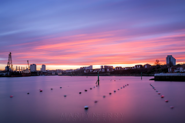 Long exposure image of sunset colours above the Sunderland skyline