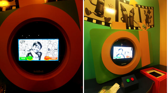 Photo booth attraction at Crayola Experience