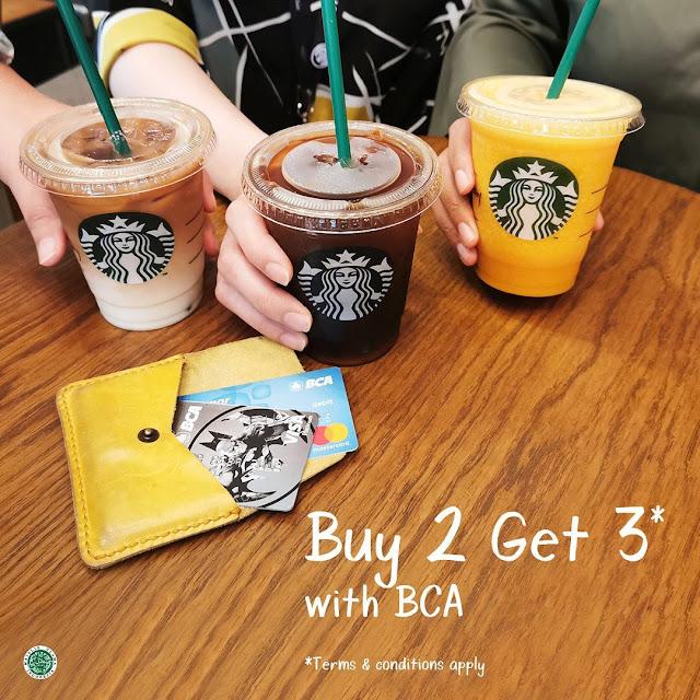 #StarBuck - #Promo Buy 2 Get 3 Beli Minuman Apapun Pakai Kartu Debit & Credit BCA