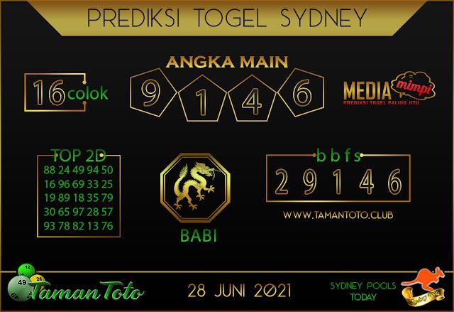 Prediksi Togel SYDNEY TAMAN TOTO 28 JUNI 2021