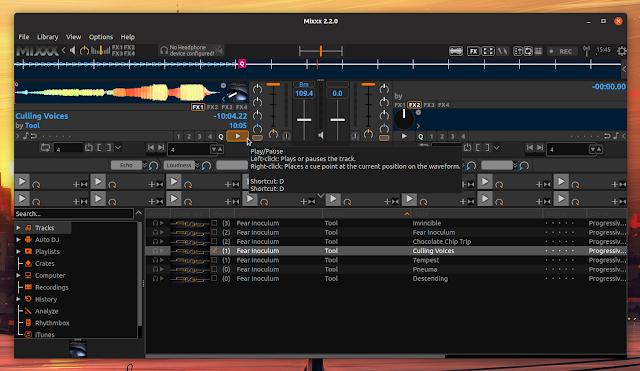Mixxx play track