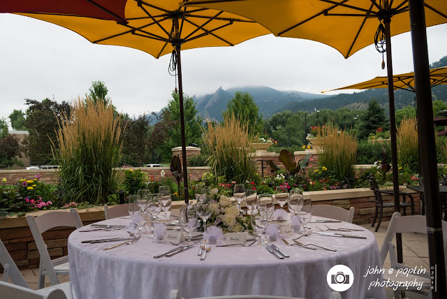 A photograph of the Bride and Grooms table at their wedding in Boulder Colorado