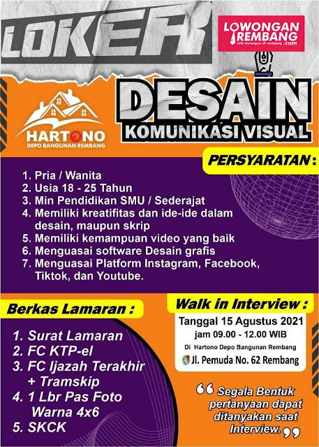 Lowongan Kerja Desain Komunikasi Visual Depo Hartono Rembang