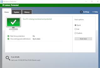 Halaman Sekuriti Aktif Windows Defender