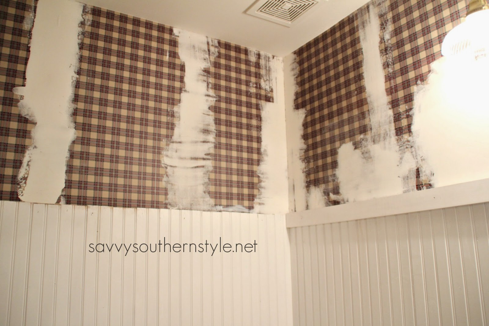 Savvy Southern Style How To Paint Over Wallpaper