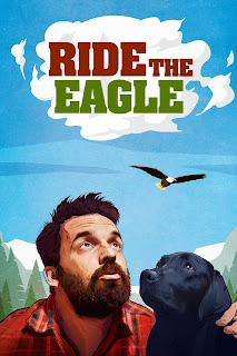 Poster - stylised painting of a bearded man and his black dog looking up at an eagle flying in the sky