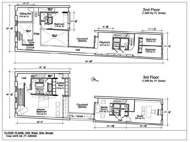 Floor plan of 2nd floor and 3rd floor of the West Village Apartment, New York