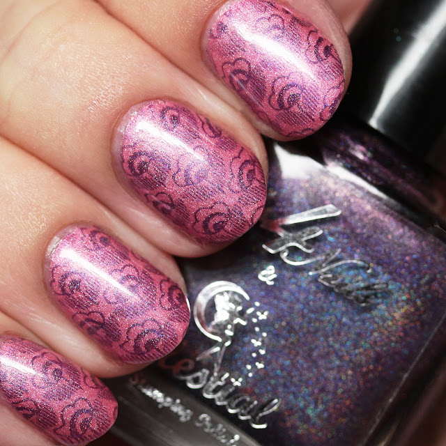 Celestial Cosmetics Orchid stamped over Blush using MoYou London Flower Power Collection - 02