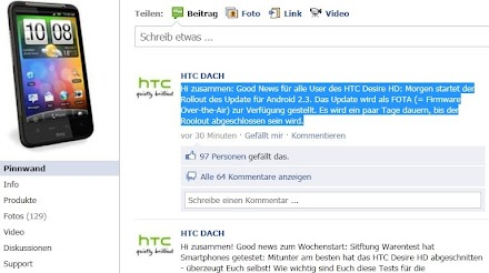Android : HTC Desire HD Gingerbread Update 2.3 rollt morgen aus !