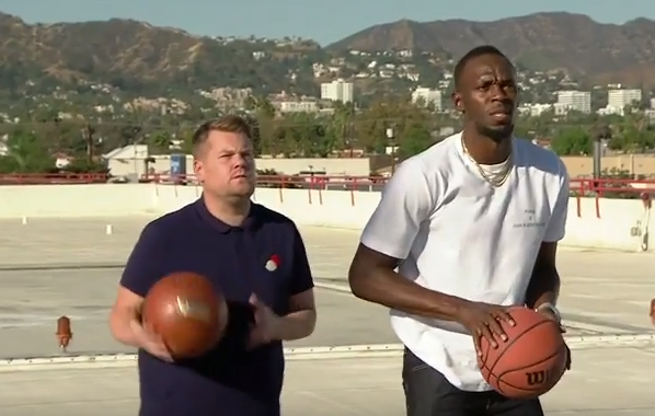 Usain Bolt vs James Corden in basketball
