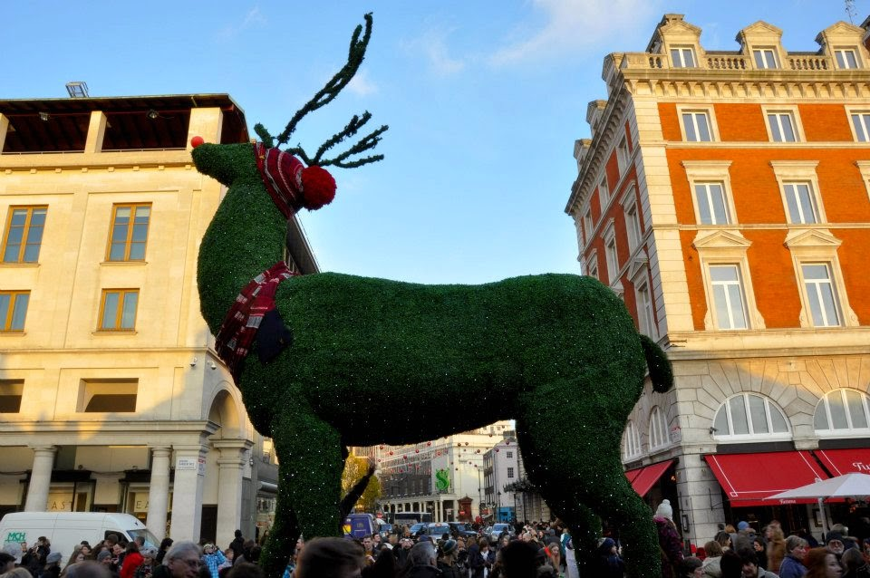 A huge reindeer in front of Covent Garden - Christmas 2012