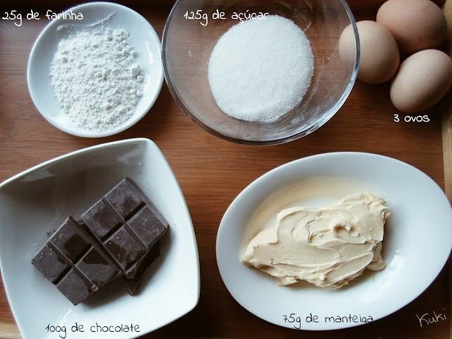 Ingredientes recheio da Tarte de Chocolate