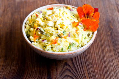 Texas potato salad with nasturtiums