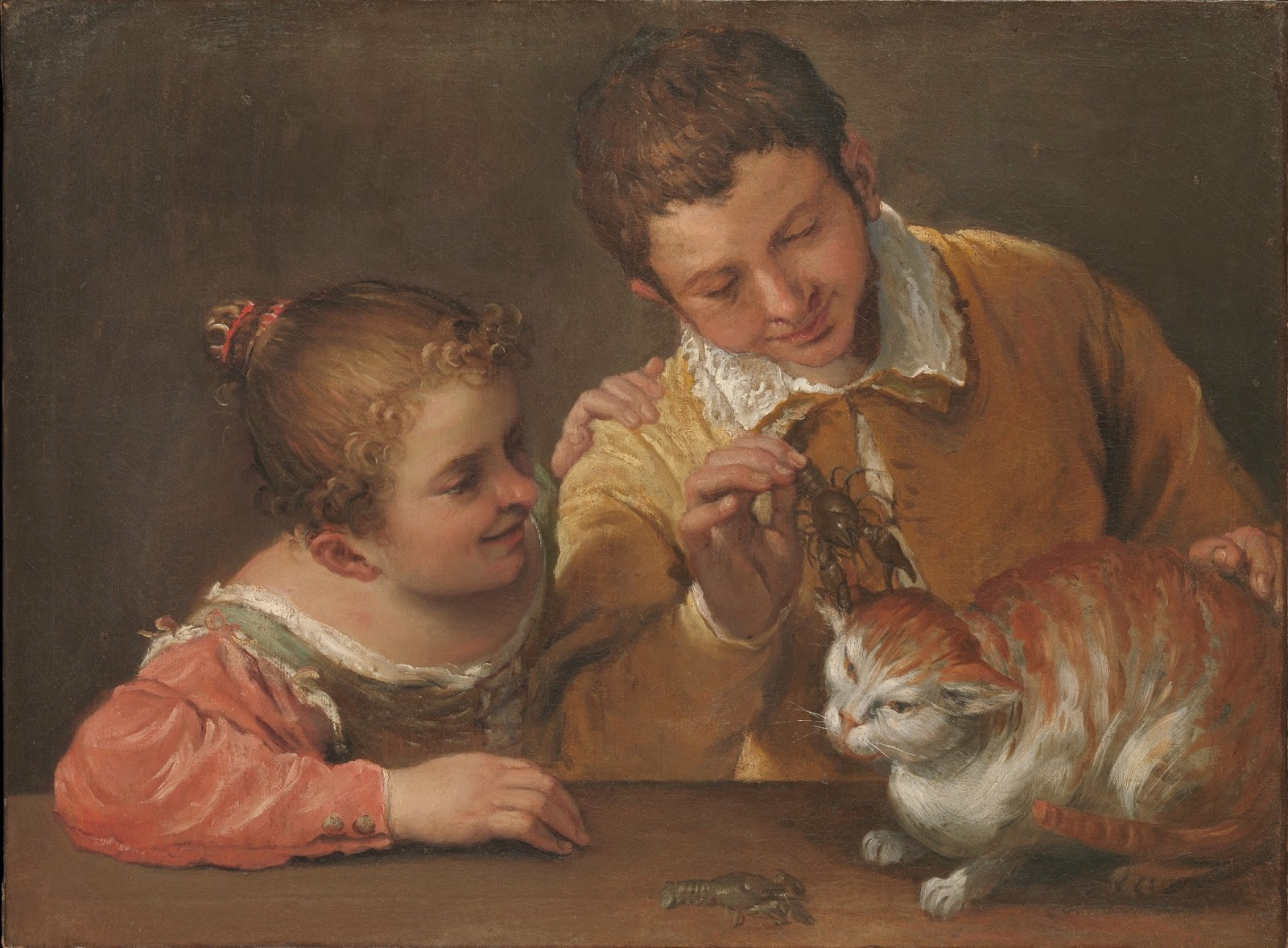 Annibale Carracci S Painting Two Children Teasing Cat