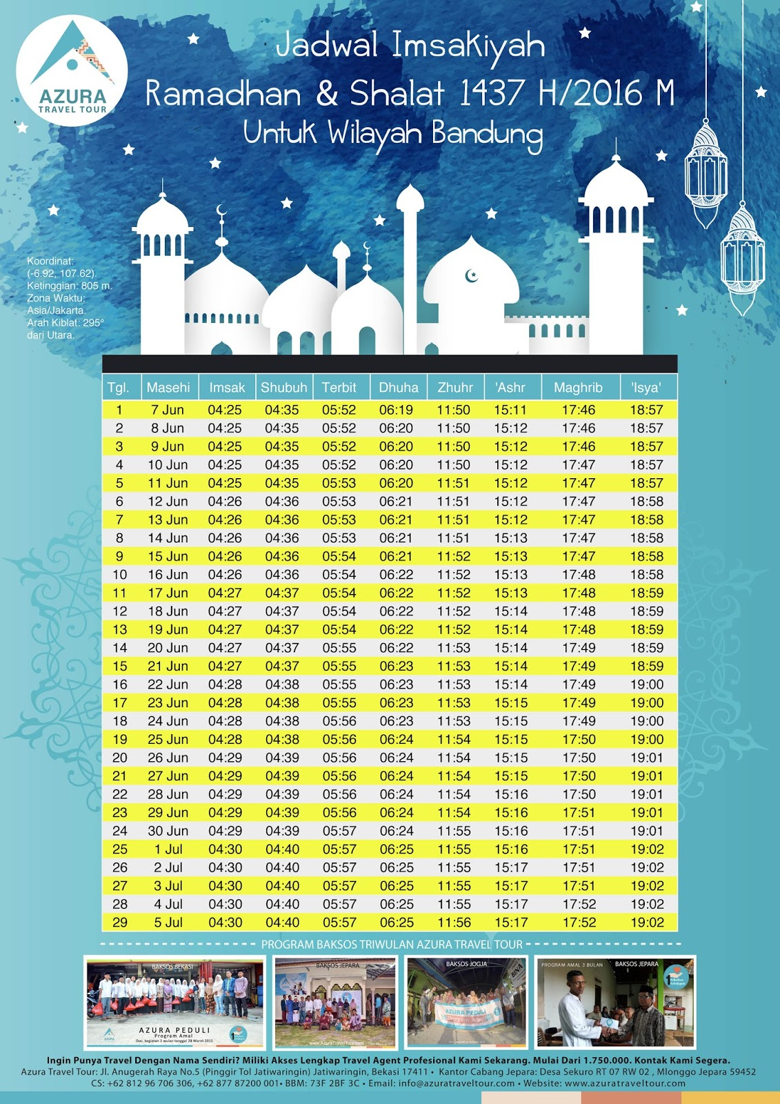 Jadwal Imsyakiah dan Sholat Tahun 2016-2017