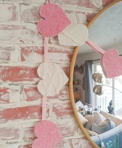 DIY Sweater Heart Garland