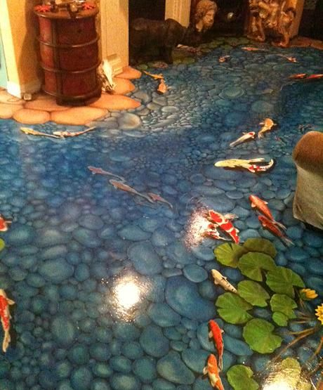 fantastic 3D floor art for living room interior design