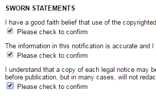 Sumpah kebenaran laporan pencurian ke DMCA