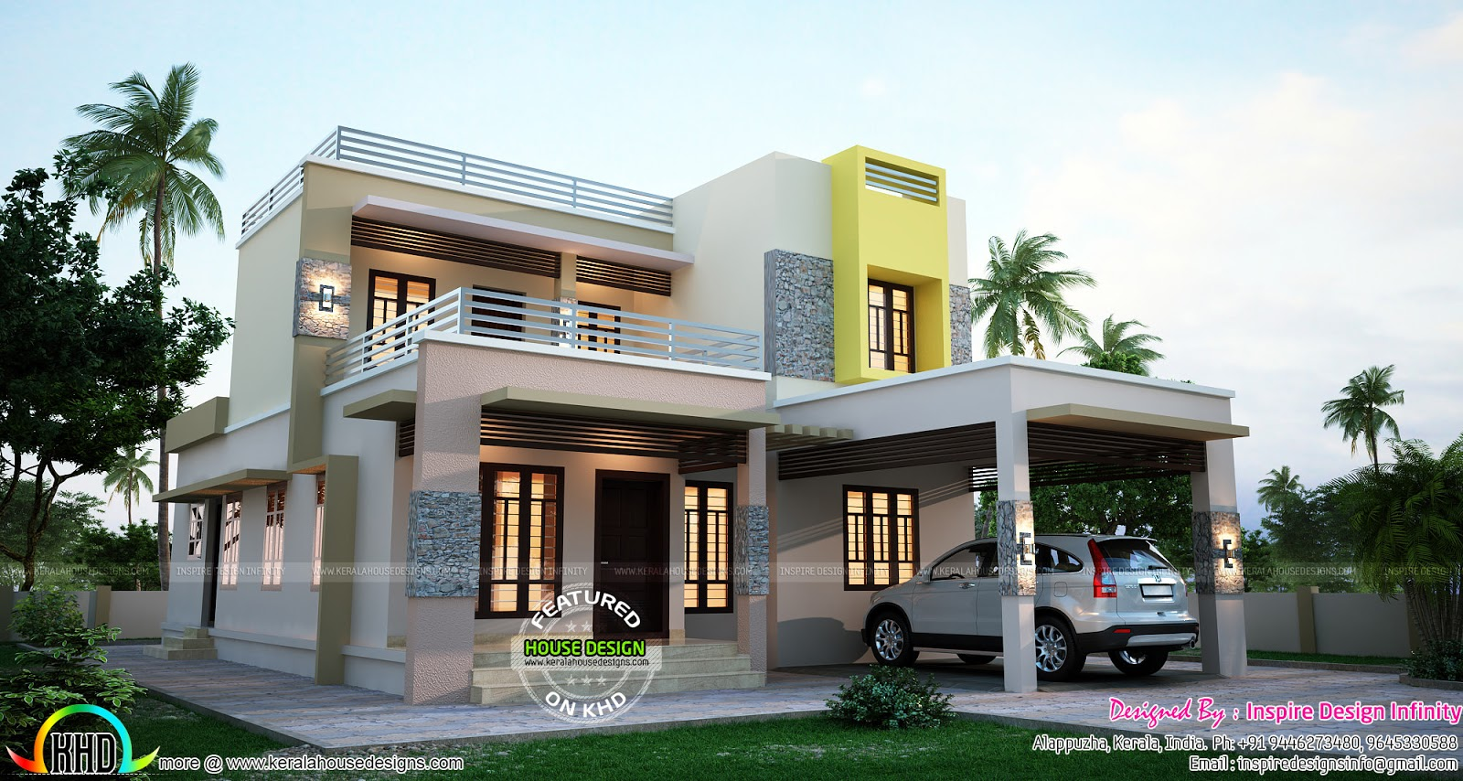 1950 sq ft modern contemporary mix home kerala home for Modern house 52