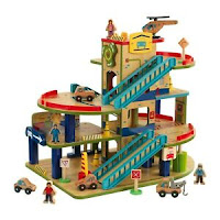 Wash N Go Wooden Car Garage Playset with 19-Piece Accessory Set by KidKraft