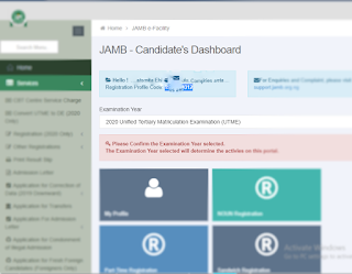 Jamb code via Student portal