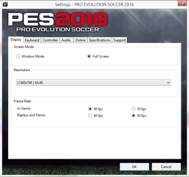 PES 2018 Settings ~ PESNewupdate.com | Free Download Latest Pro Evolution Soccer Patch & Updates