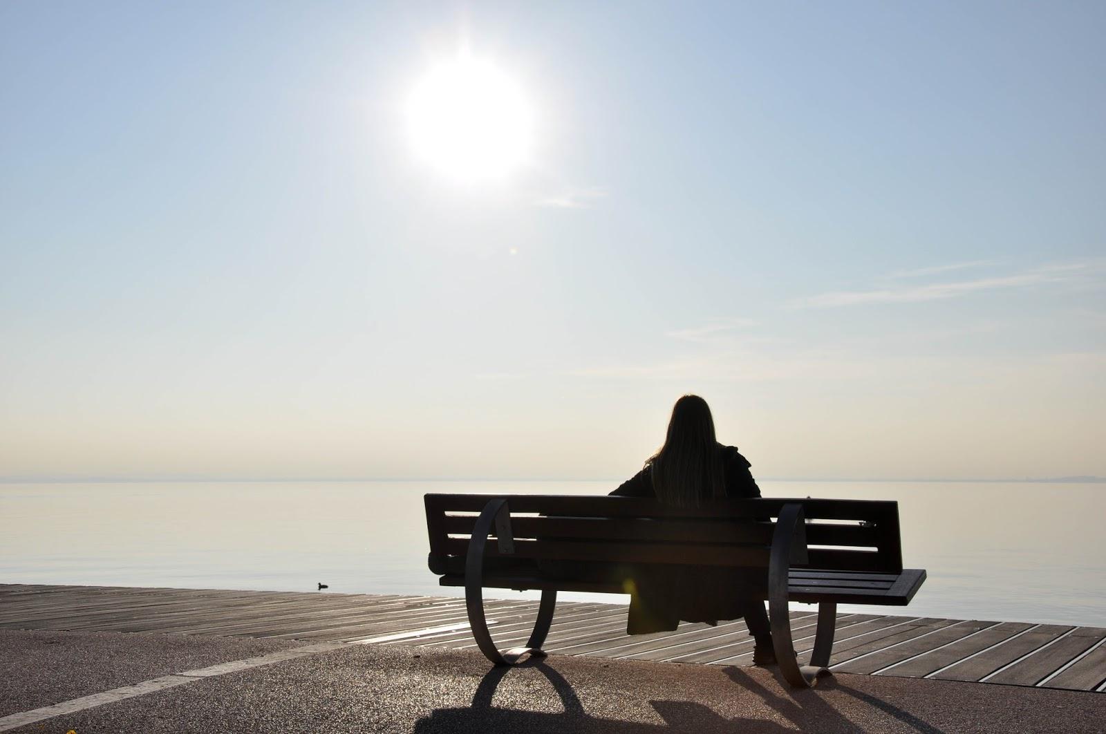 Bench and a girl, Bardolino, Lake Garda, Italy