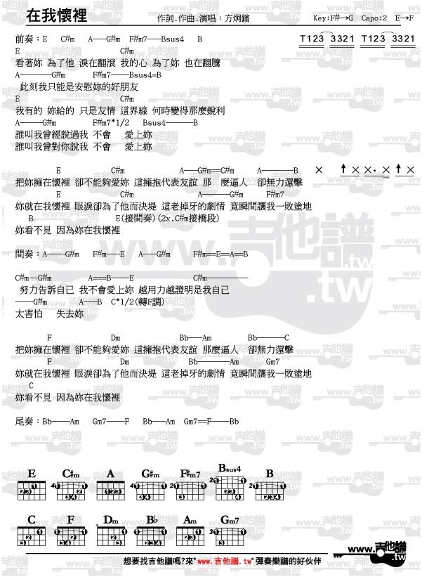 吉他譜-在我懷裡-方炯鑌(節奏指法和弦圖完整版) - www.吉他譜.tw(唯一清楚標示節奏指法和弦圖之吉他譜網站)