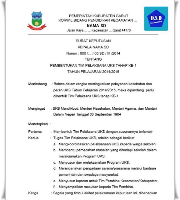 surat keputusan (sk) pembentukan tim pelaksana uks sd (sekolah dasar)