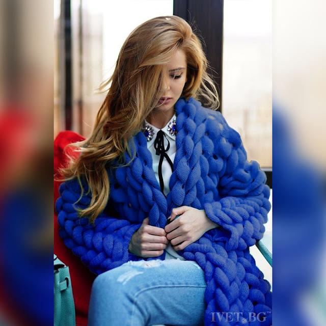 Πλεκτή γυναικεία ζακέτα AVISHA BLUE