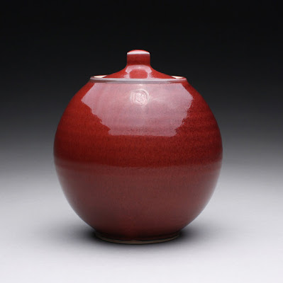 porcelain cookie jar, red