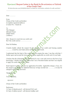letter to bank for reactivation of credit card