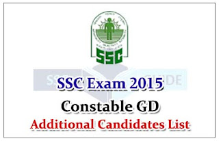 Staff Selection Commission recruitment of constable (GD), 2015 – list of additional candidates to be called for medical