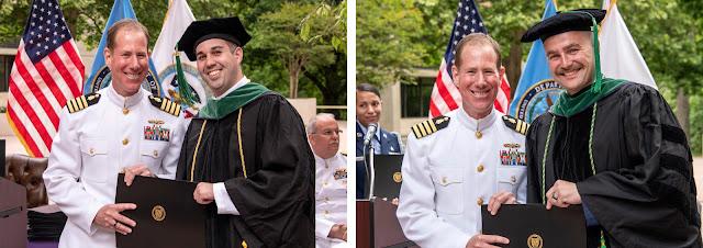 Trevor Elam and Steven Mowen accepting their USU Doctor of Medicine degrees.