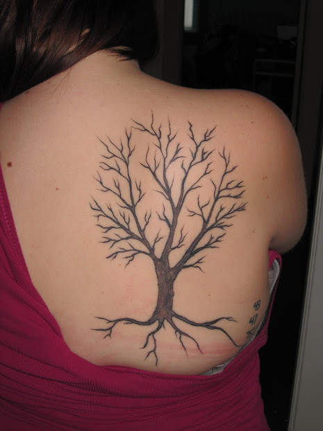tree tattoo shoulder blade