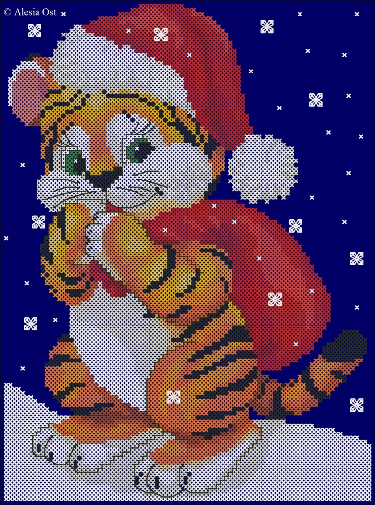 Free cross-stitch patterns, Tiger Santa, Christmas, holiday, animal, tiger, cross-stitch, back stitch, cross-stitch scheme, free pattern, x-stitchmagic.blogspot.it, вышивка крестиком, бесплатная схема, punto croce, schemi punto croce gratis, DMC, blocks, symbols