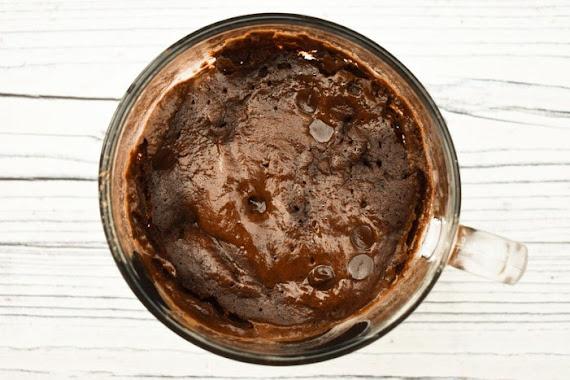 Making a chocolate brownie mug cake - step 6 - microwaved for 1 minute