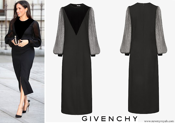 Meghan Markle wore Givenchy Black Velvet Appliquéd Midi Dress