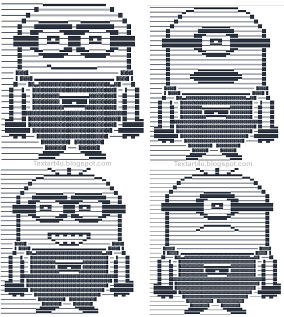 Minions Emoticons Text Art For Facebook   Cool ASCII Text ...