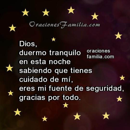 Frases con oraciones de la noche, imágenes con corta oración para dormir, protección de Dios en la noche de descanso por Mery Bracho.