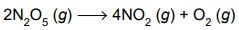 A reação de decomposição do anidrido nítrico (N2O5), de massa molar = 108 g/mol, pode ser representada pela seguinte equação química