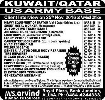 Job Vacancies In Us Army Base In Kuwait Amp Qatar
