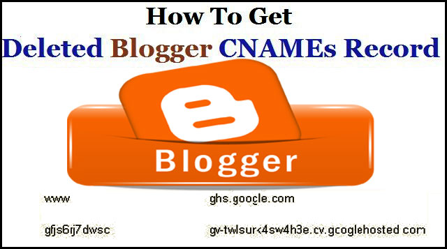 How to get Deleted Blogger CNAMEs Record