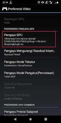 Jika sudah, Sobat geser kebawah kemudian klik Pengaya GPU.