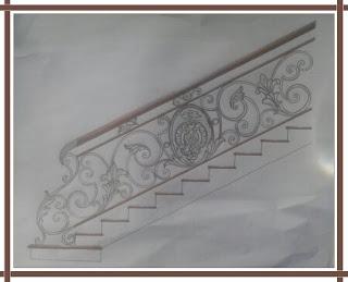 desain khusus railing tangga besi tempa klasik dengan perpaduan ornamen besi tempa khusus