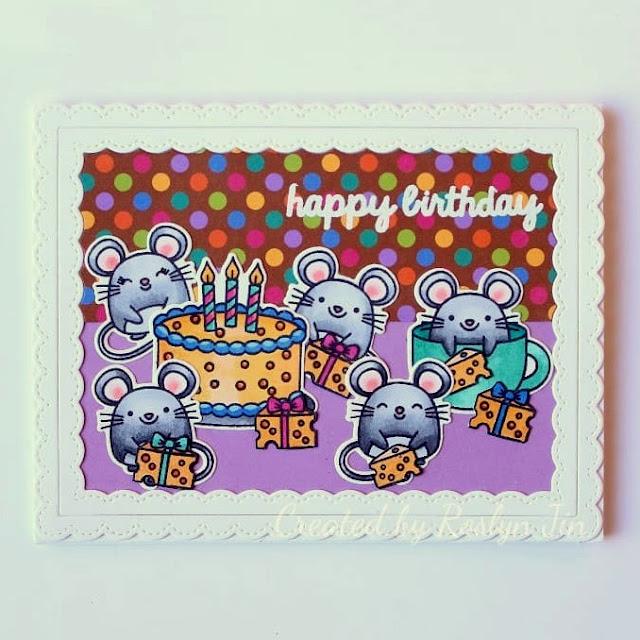 Sunny Studio Stamps: Merry Mice Fancy Frames Dies Customer Card by Roslyn Jin