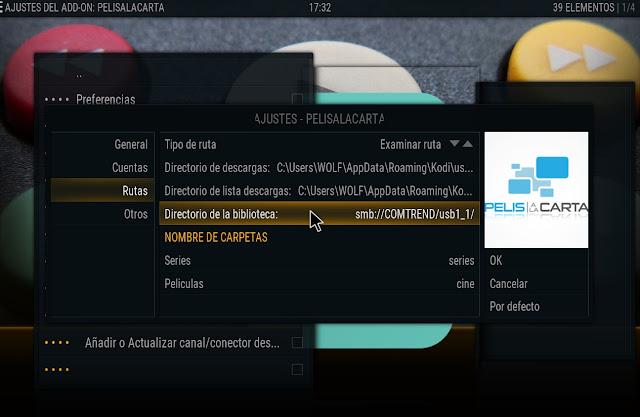 Configurar PELISALACARTA para usar Biblioteca compartida