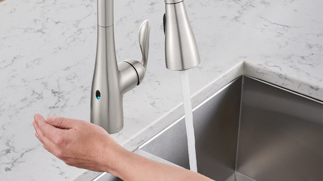 Motion sensor kitchen faucet saves gallons of water.
