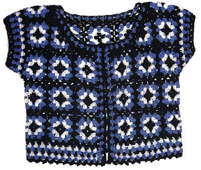 Chaleco tejido a crochet en estambre acrílico en colores negro 198c535e5123