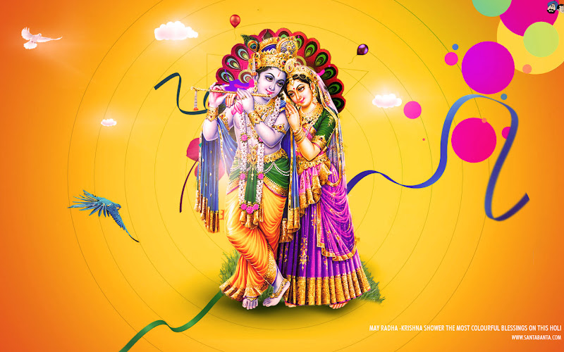 Radha-Kishan Holi Wallpaper OR Radha-Krishna Wallpaper title=